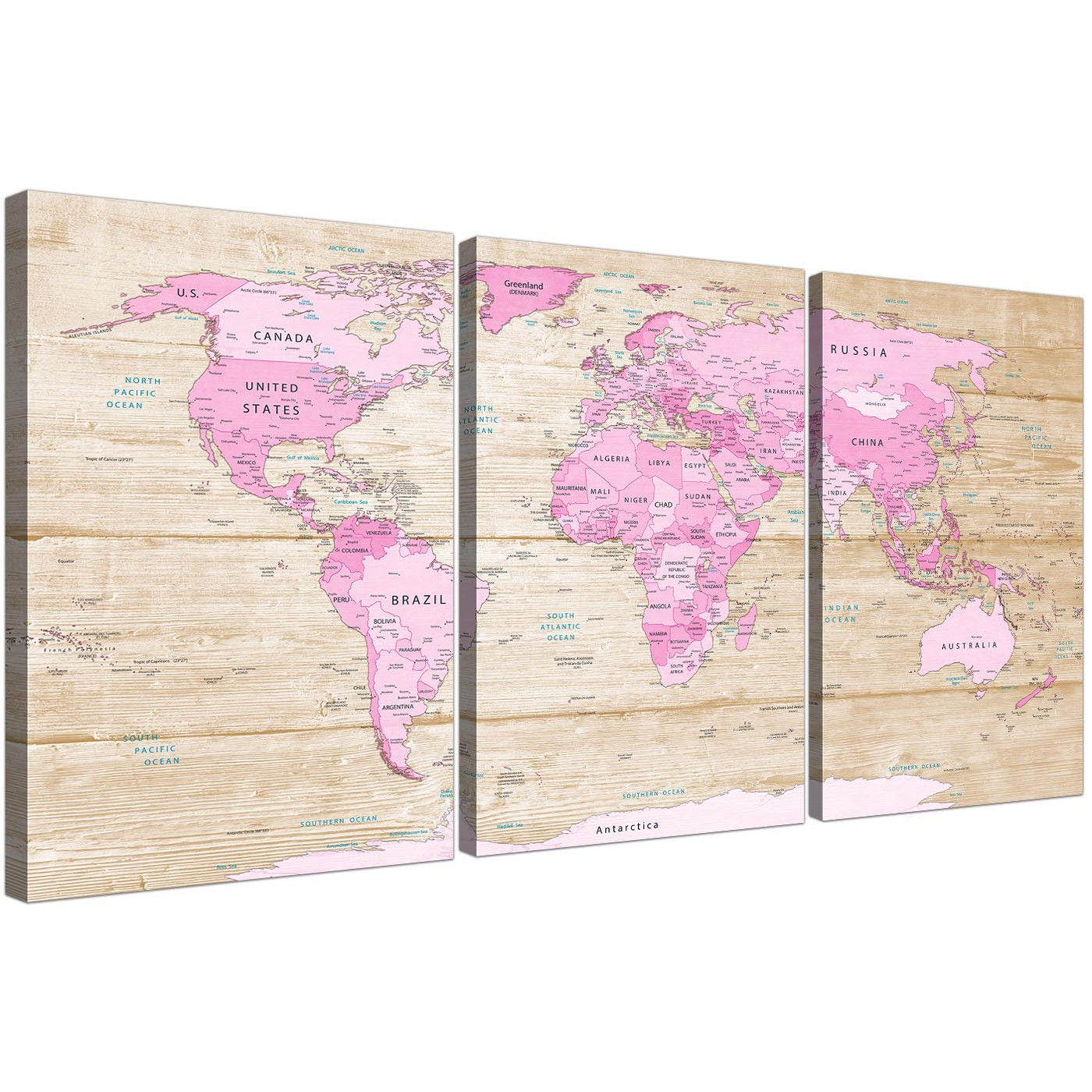 Large pink cream map of world atlas canvas wall art print multi oversized large pink cream map of world atlas canvas split 3 part 3309 for your teenage display gallery item 1 gumiabroncs Images