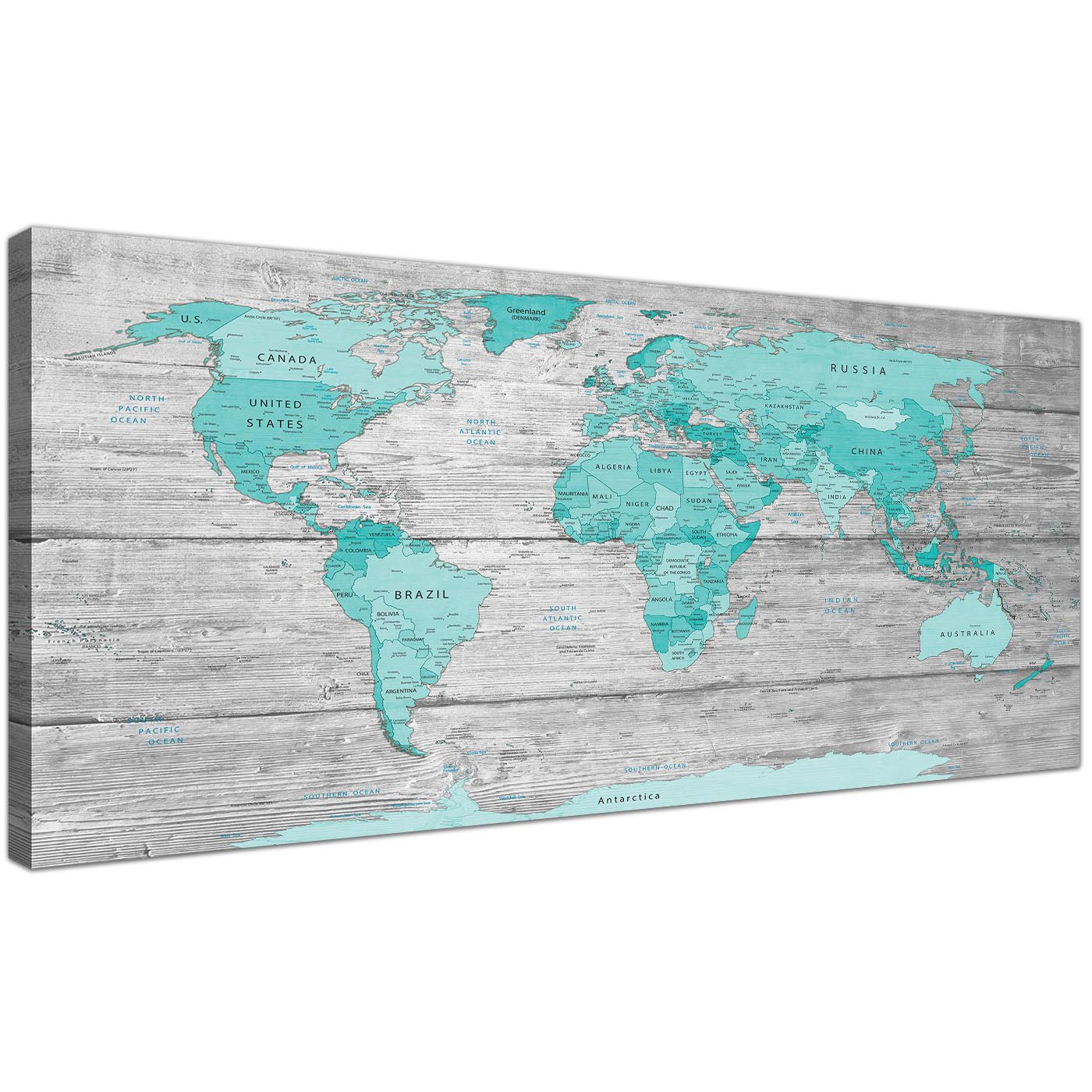 Large teal grey map of world atlas canvas wall art print 120cm oversized large teal grey map of world atlas maps canvas modern 120cm wide 1299 for your display gallery item 1 gumiabroncs Choice Image
