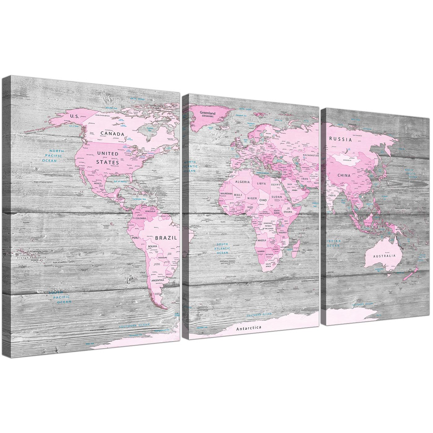 Large pink grey map of world atlas canvas wall art print abstract oversized pink grey large pink grey map of world atlas canvas wall art print maps display gallery item 1 gumiabroncs Gallery