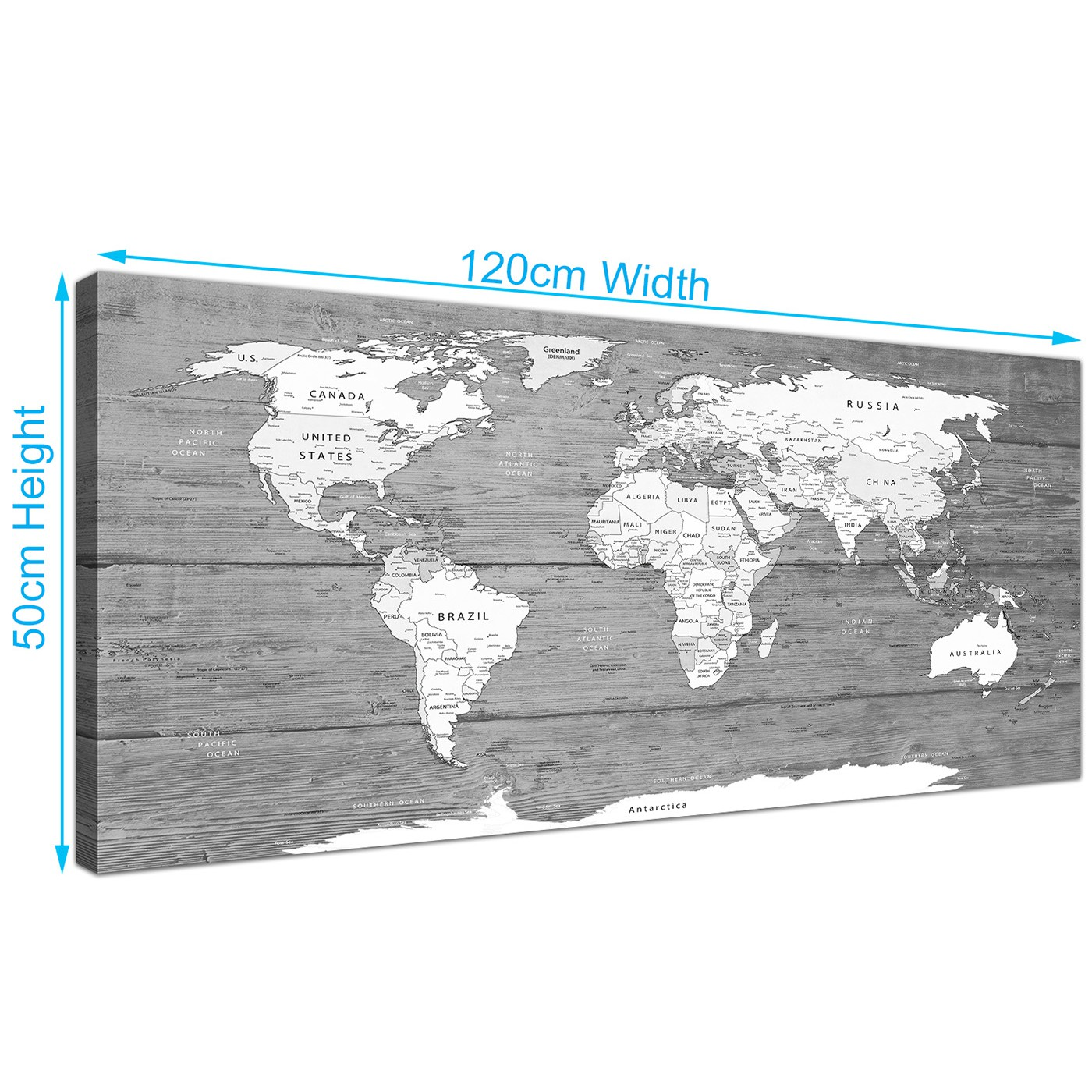 Large black white map of world atlas canvas wall art print display gallery item 3 gumiabroncs Gallery