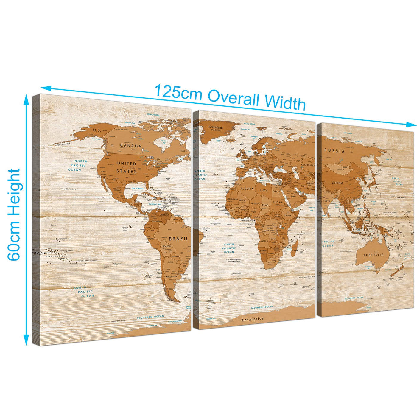 Large brown cream map of world atlas canvas wall art print multi 3 display gallery item 3 gumiabroncs Gallery
