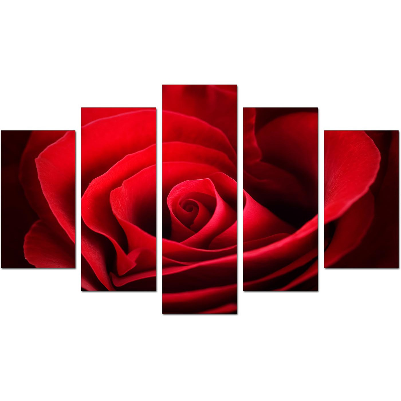 Red Canvas Wall Art extra large rose canvas wall art 5 panel in red