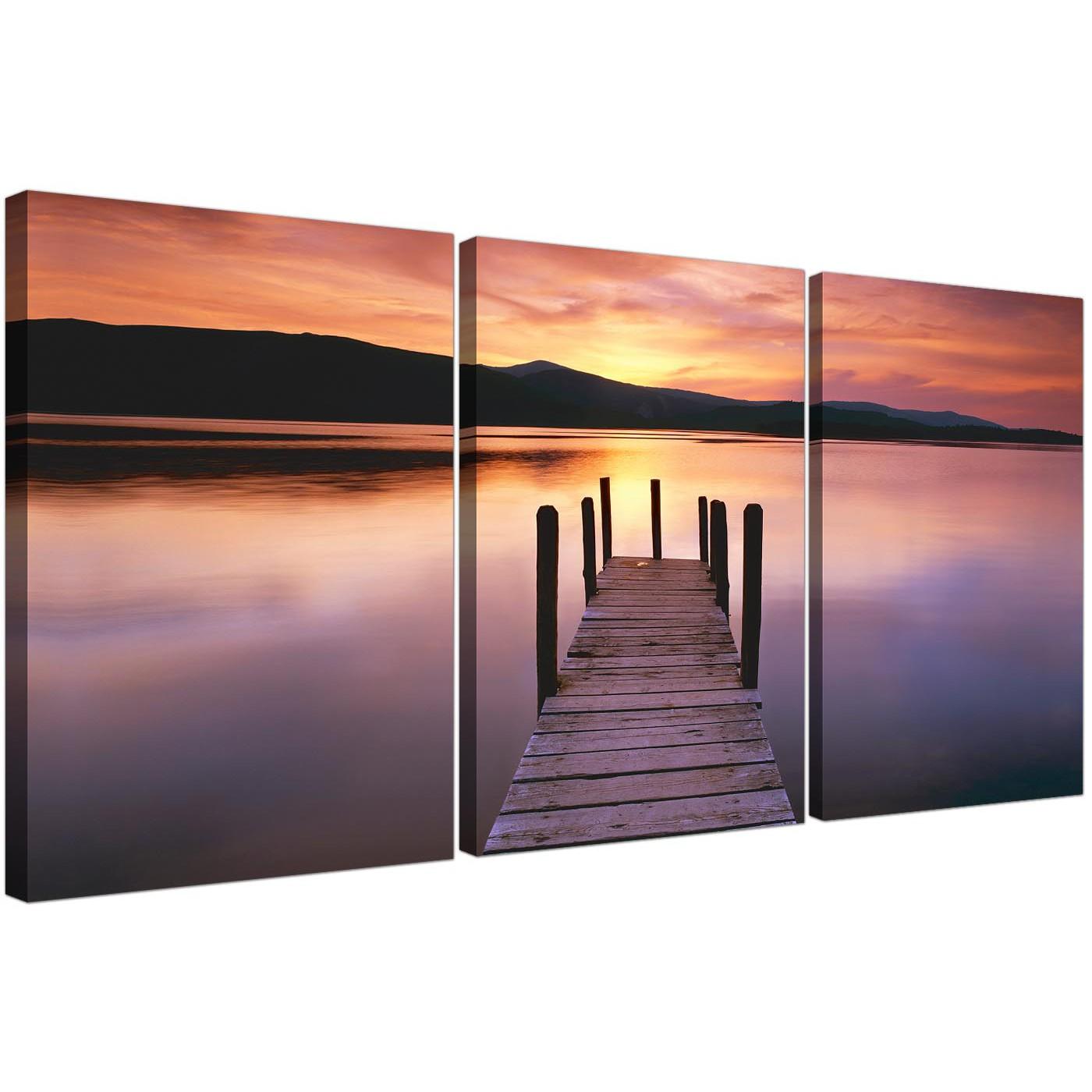 Set Of 3 Orange Landscape Canvas Prints Lake Sunset 3214 Display Gallery  Item 1 ...