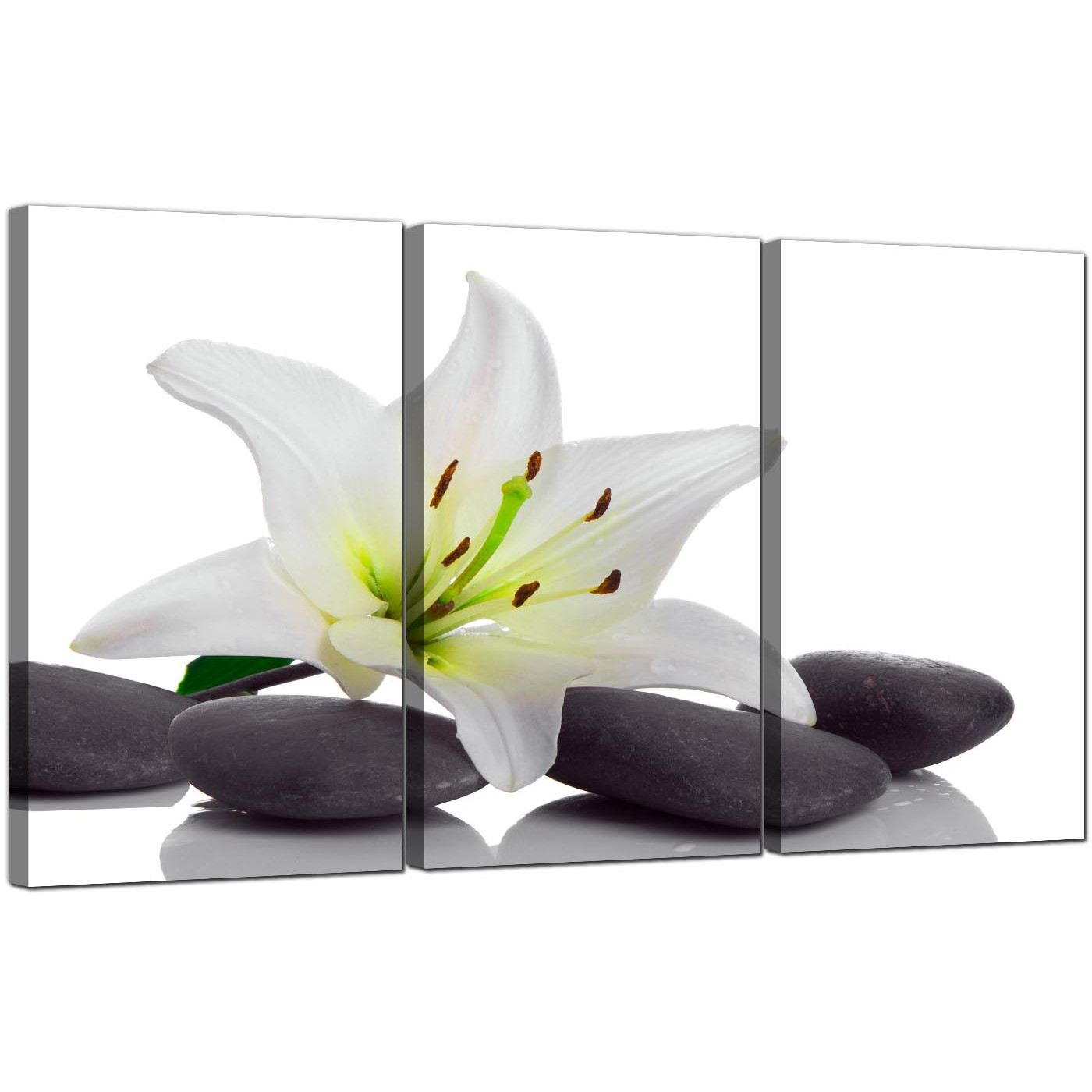 Display Gallery Item 5 3 Panel Flowers Canvas Wall Art Lily And Pebbles 3024 Display Gallery Item 6