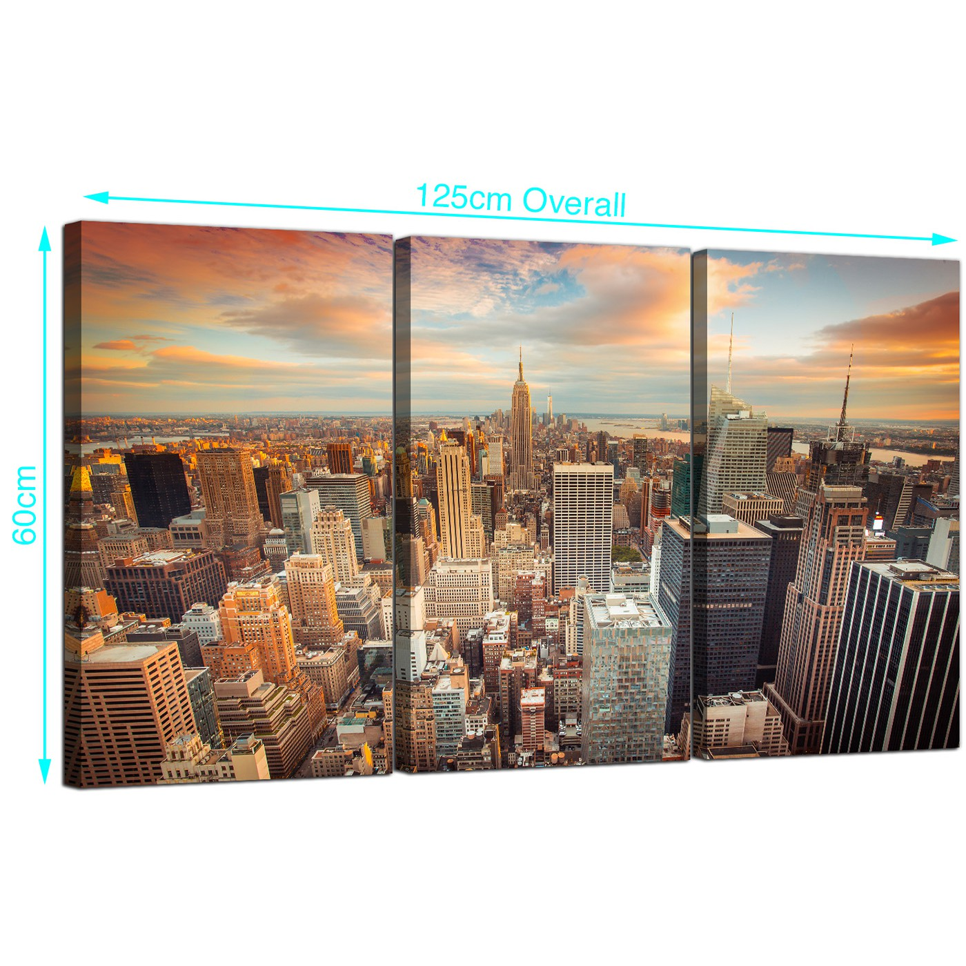 Cheap new york skyline canvas wall art 3 panel for your for Cheap art prints on canvas
