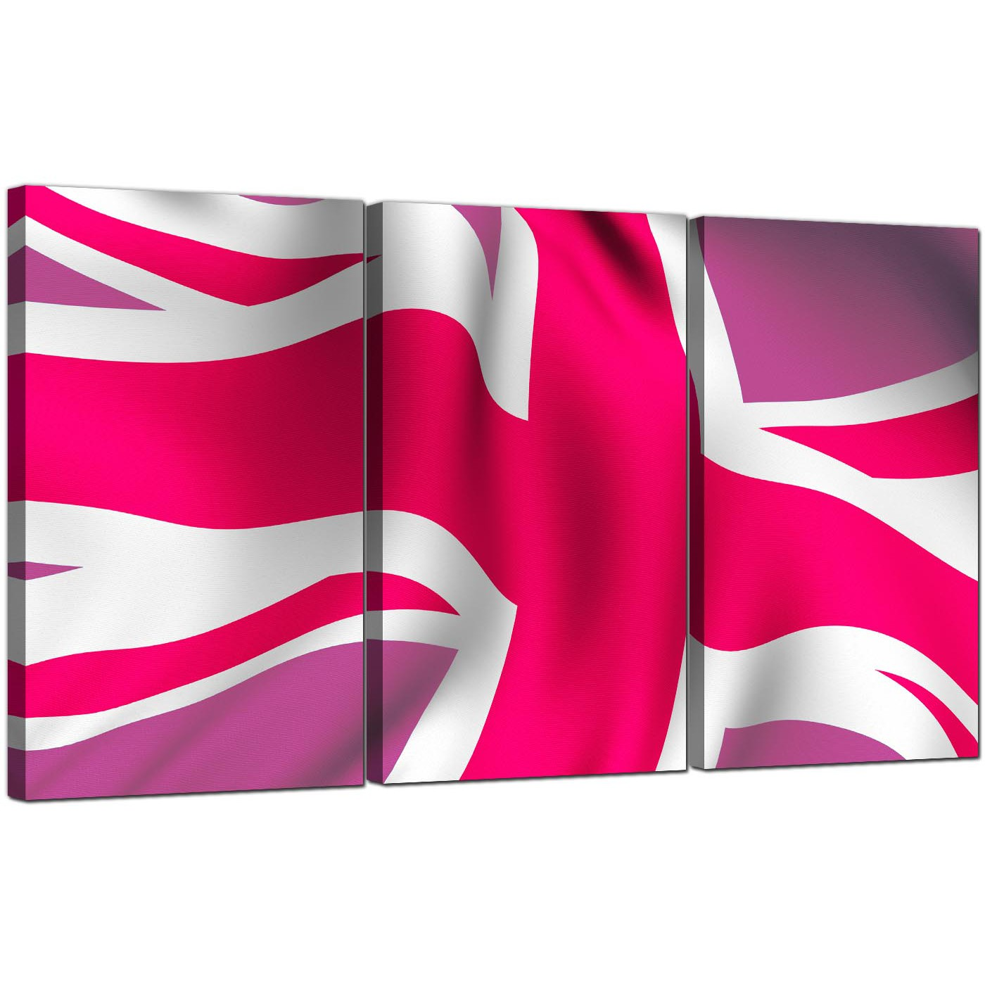 Union jack canvas pictures 3 part for your teenage girls for Pink union jack bedding