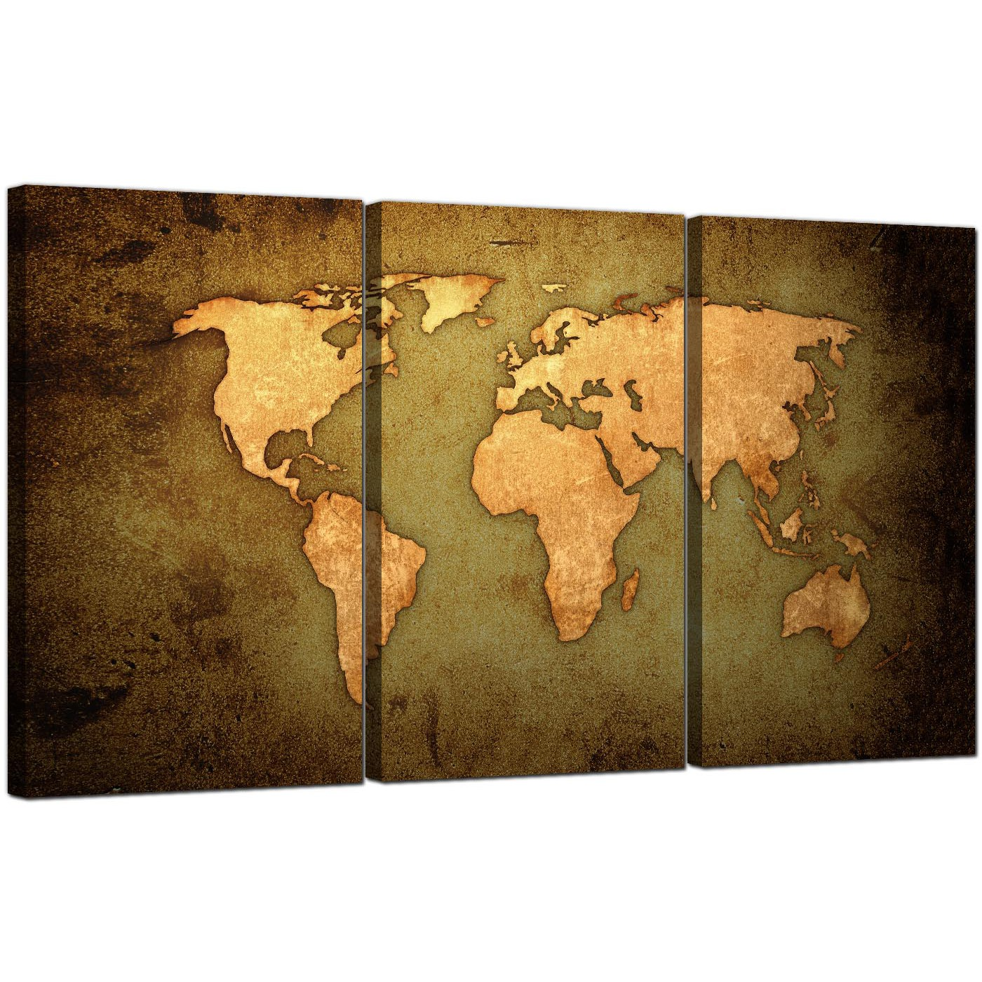 Vintage World Map Canvas Art Set Of Three For Your Study - World map canvas