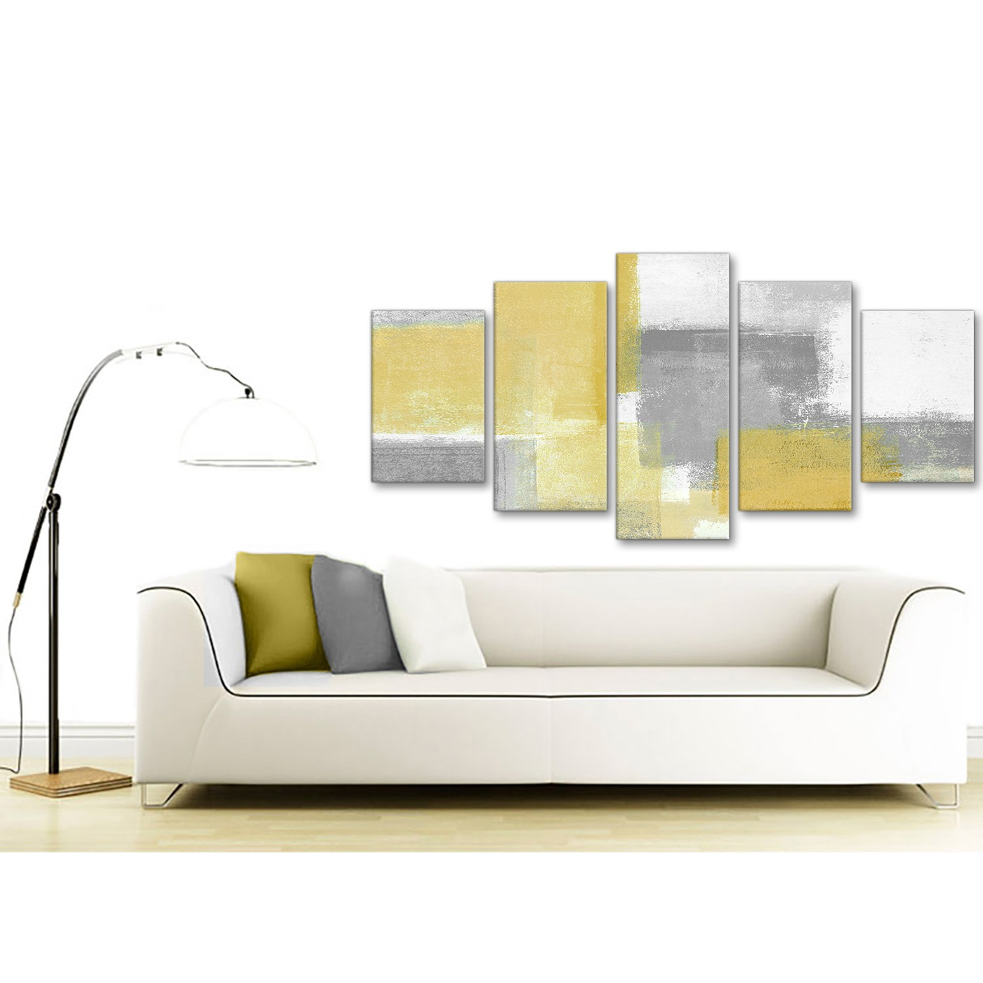 Grey Living Room With Mustard