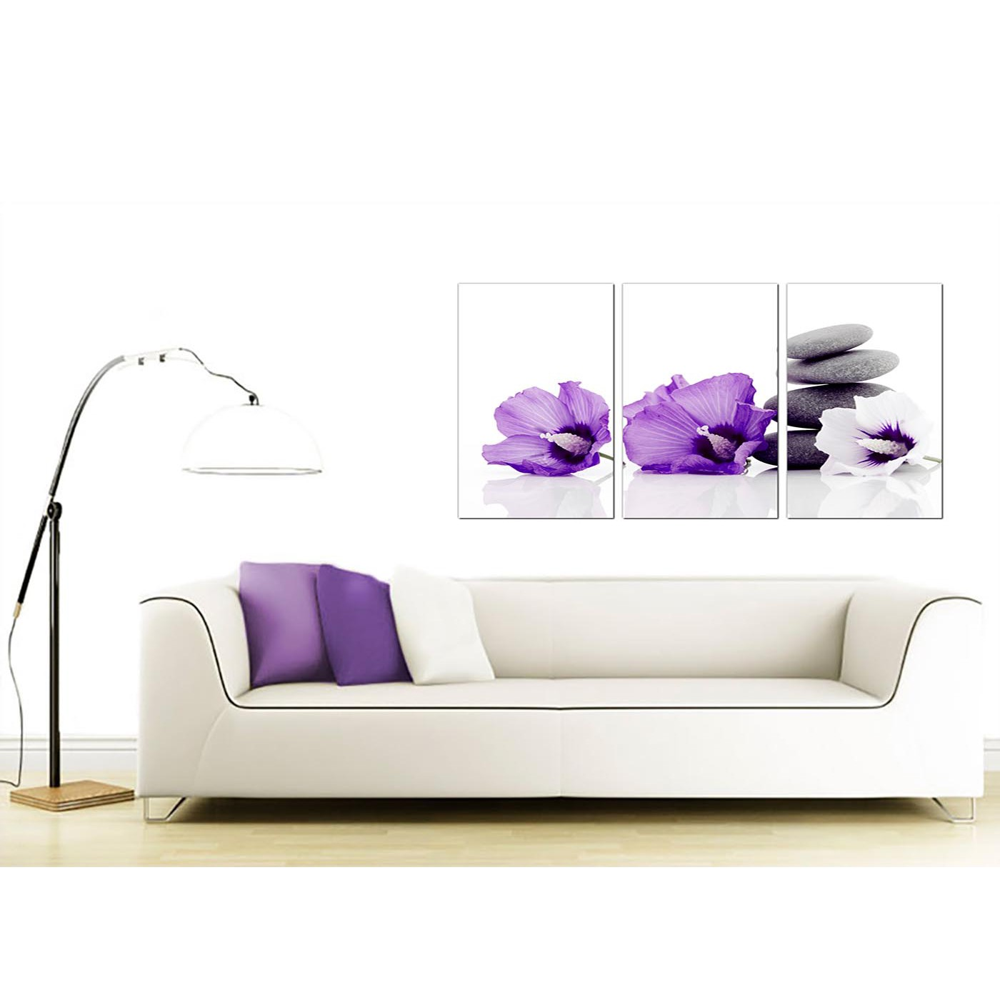 Flowers canvas wall art set of 3 for your dining room for Purple dining room wall art