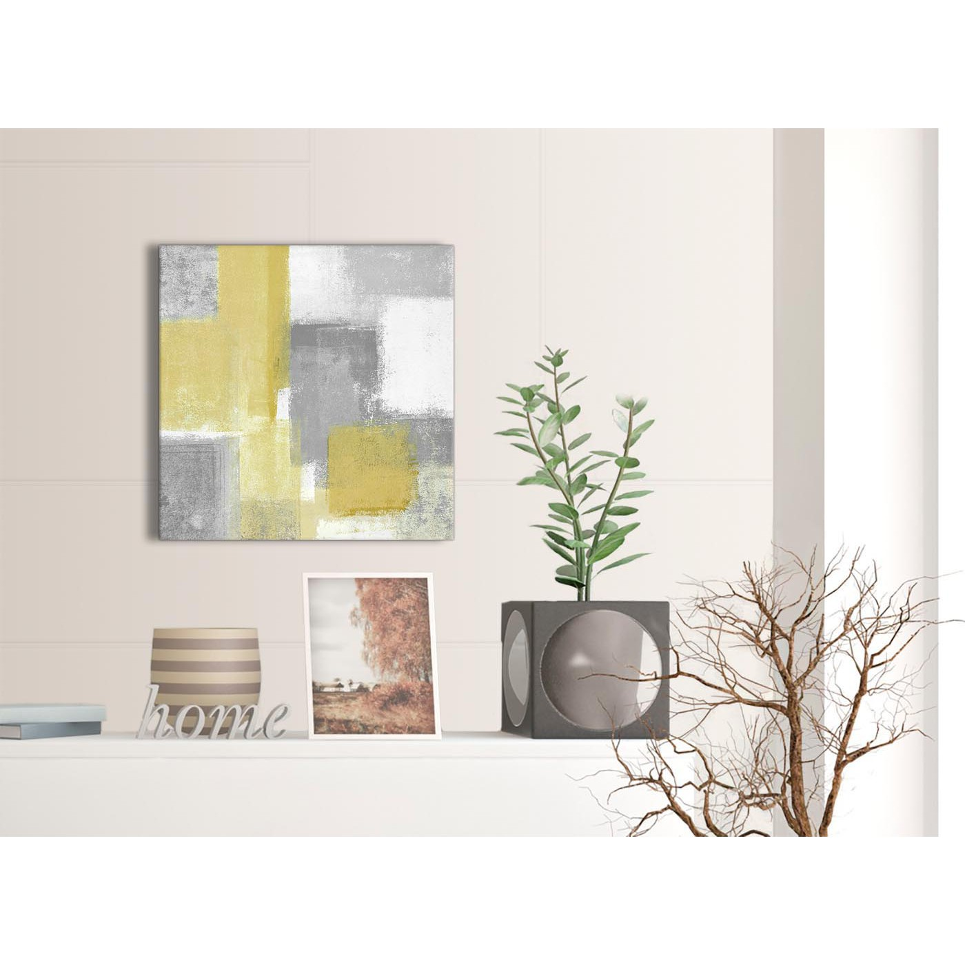 Mustard Yellow Grey Bathroom Canvas Pictures Accessories Abstract 1s367s 49cm Square Print