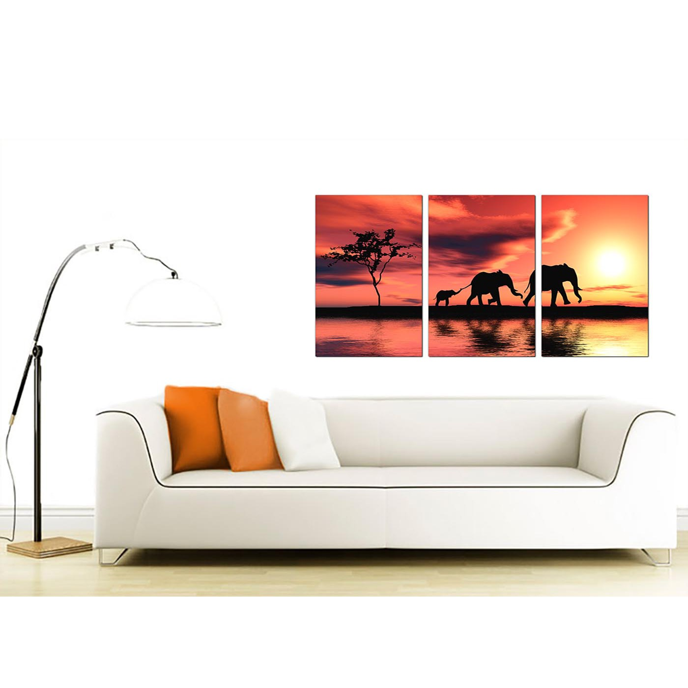 Elephants Canvas Prints Set Of 3 For Your Living Room