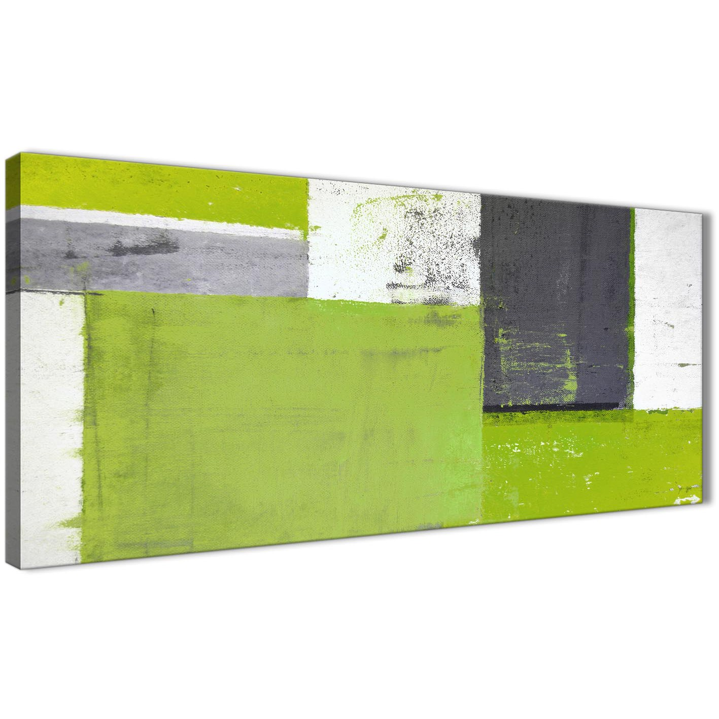 Lime green grey abstract painting canvas wall art print for Lime green wall art