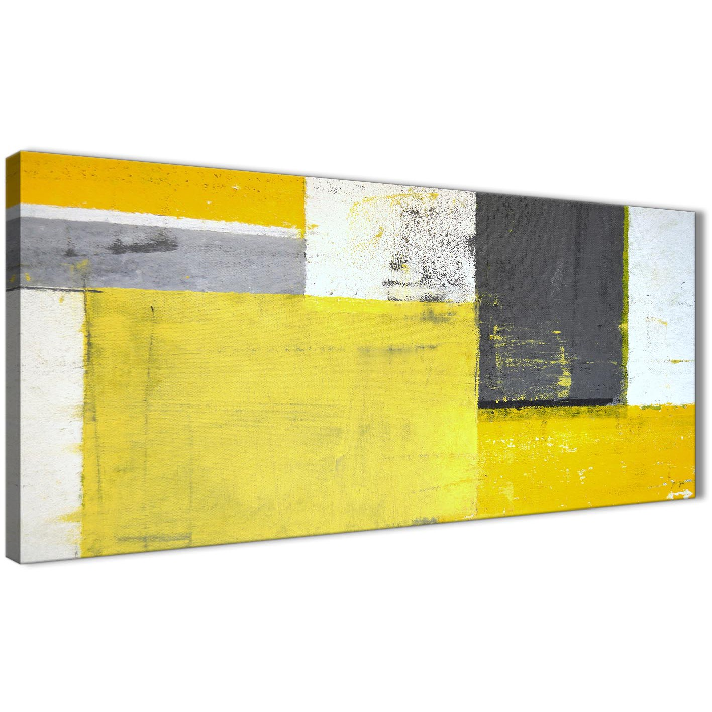 Yellow Grey Abstract Painting Canvas Wall Art Print   Modern 120cm Wide    1346