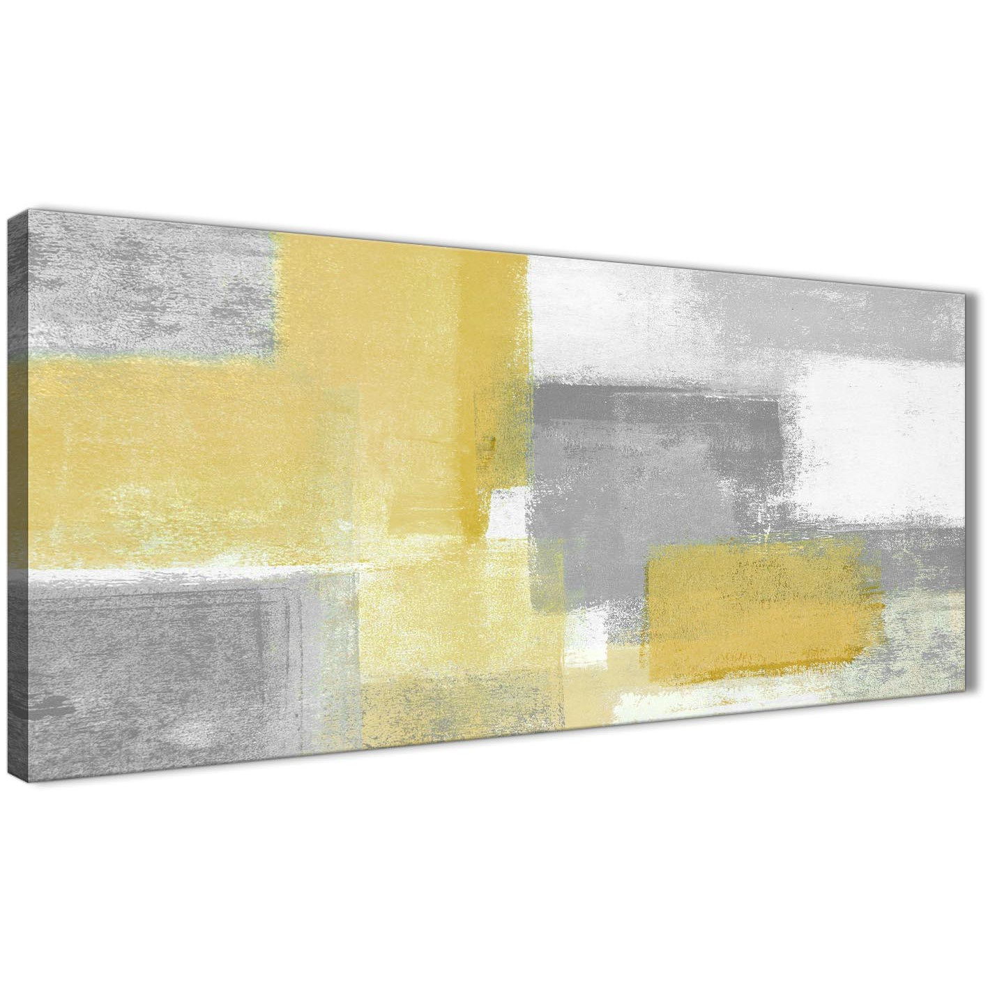 Panoramic Mustard Yellow Grey Living Room Canvas Wall Art Accessories    Abstract 1367   120cm Print Display Gallery Item 1 ... Part 43