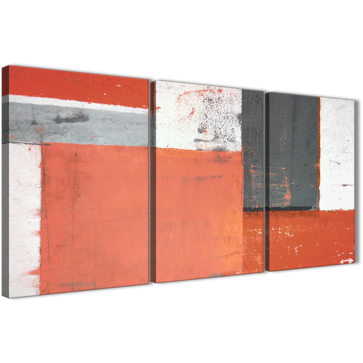 Oversized Coral Grey Abstract Painting Canvas Wall Art Pictures Split 3  Panel 125cm Wide 3336 For