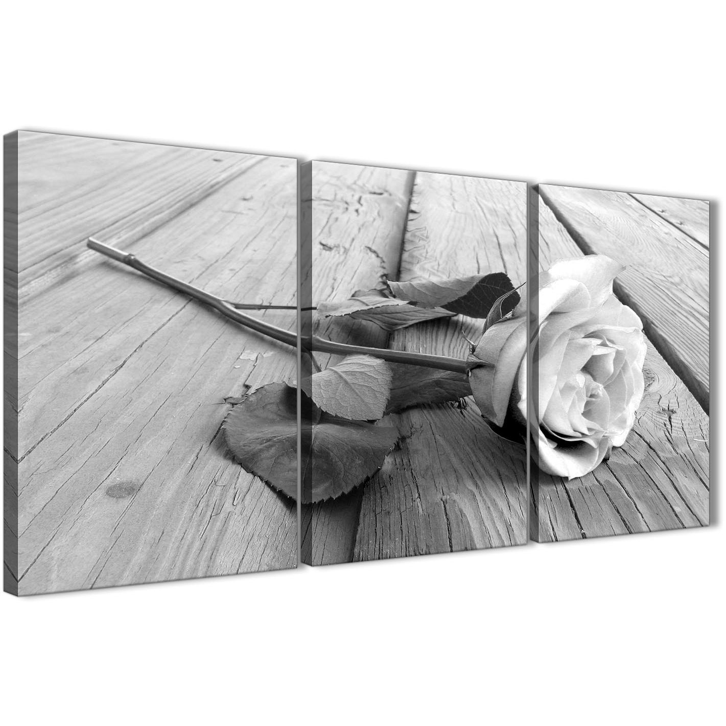 3 piece black white rose floral dining room canvas wall for Black and white dining room wall art