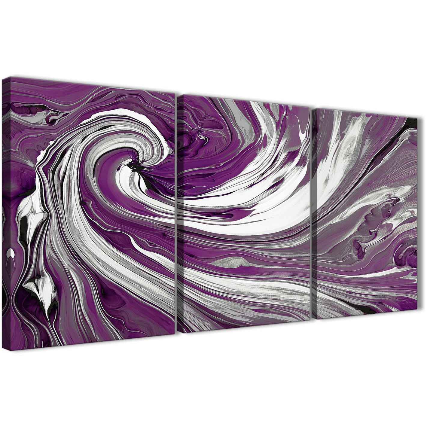 Oversized Plum Purple White Swirls Modern Abstract Canvas Wall Art Split 3  Set 125cm Wide 3353 Display Gallery Item 1 ...
