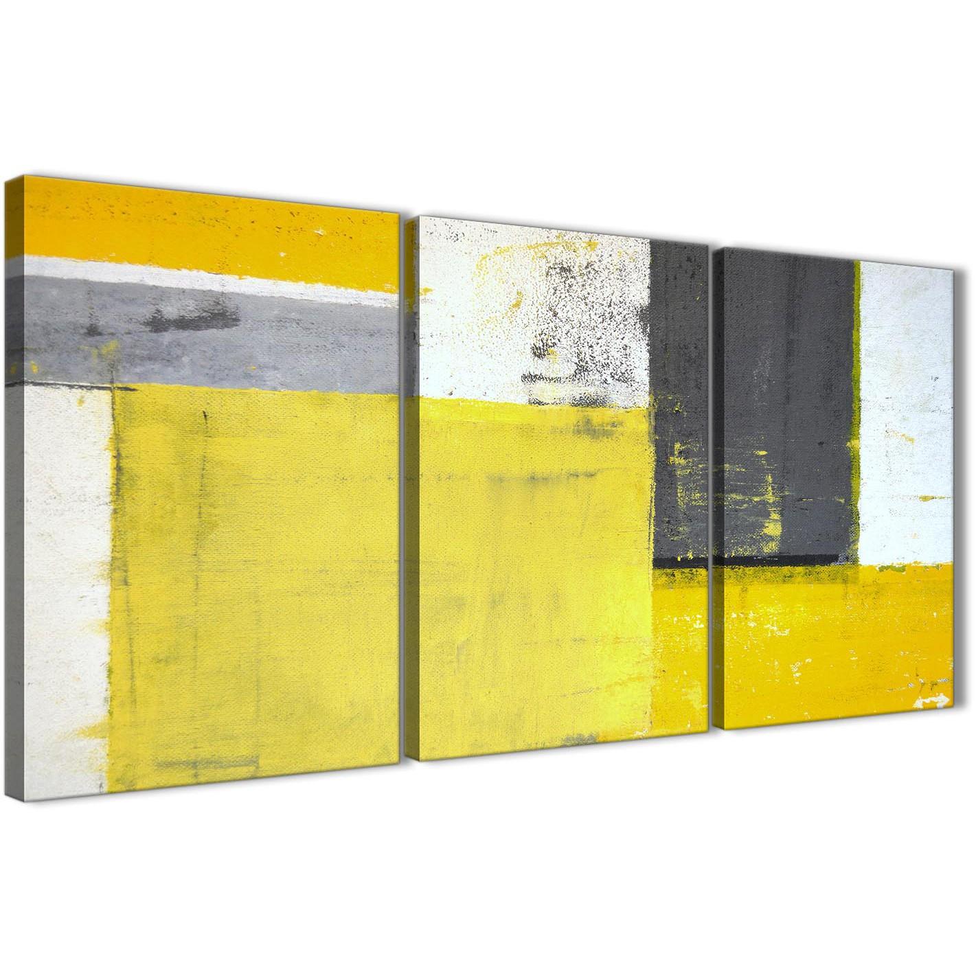 Yellow Grey Abstract Painting Canvas Wall Art Print