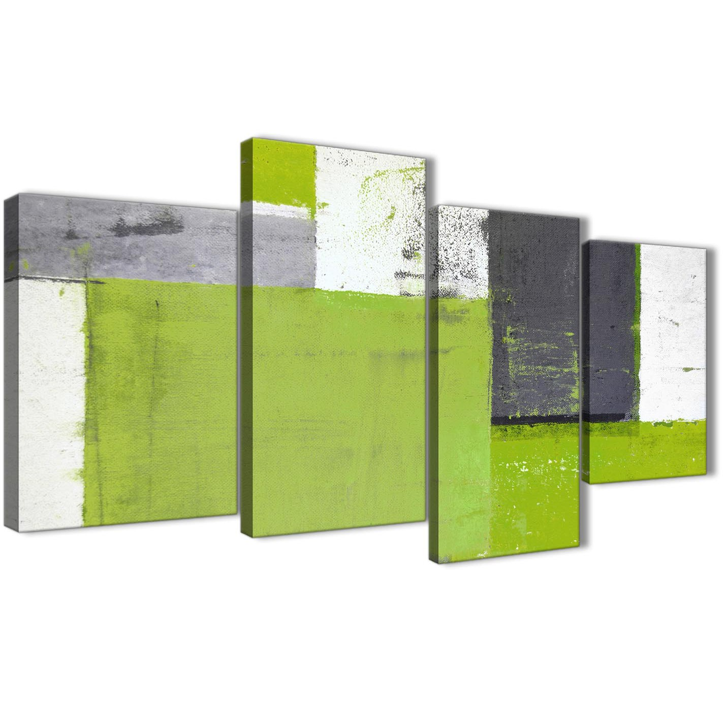 Large Lime Green Grey Abstract Painting Canvas Wall Art