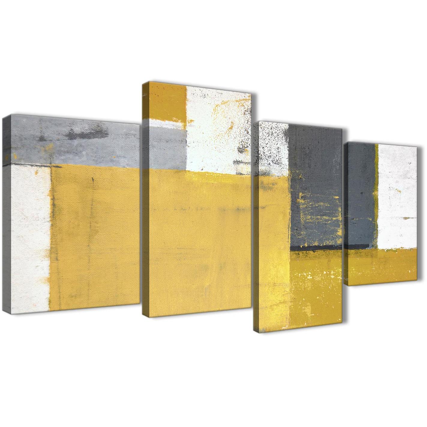 Large Mustard Yellow Grey Abstract Painting Canvas Wall