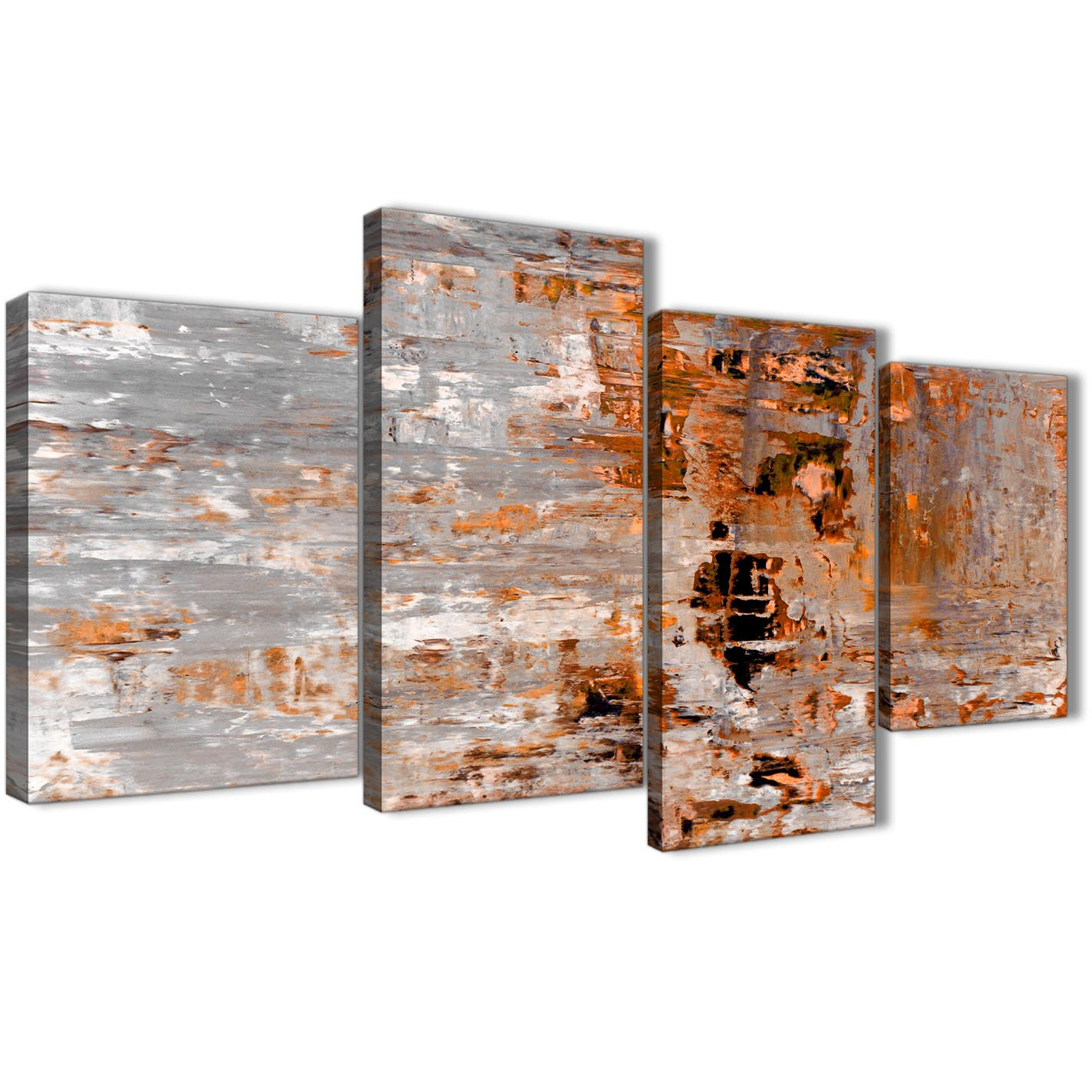 Burnt Orange Grey Painting Abstract Bedroom Canvas