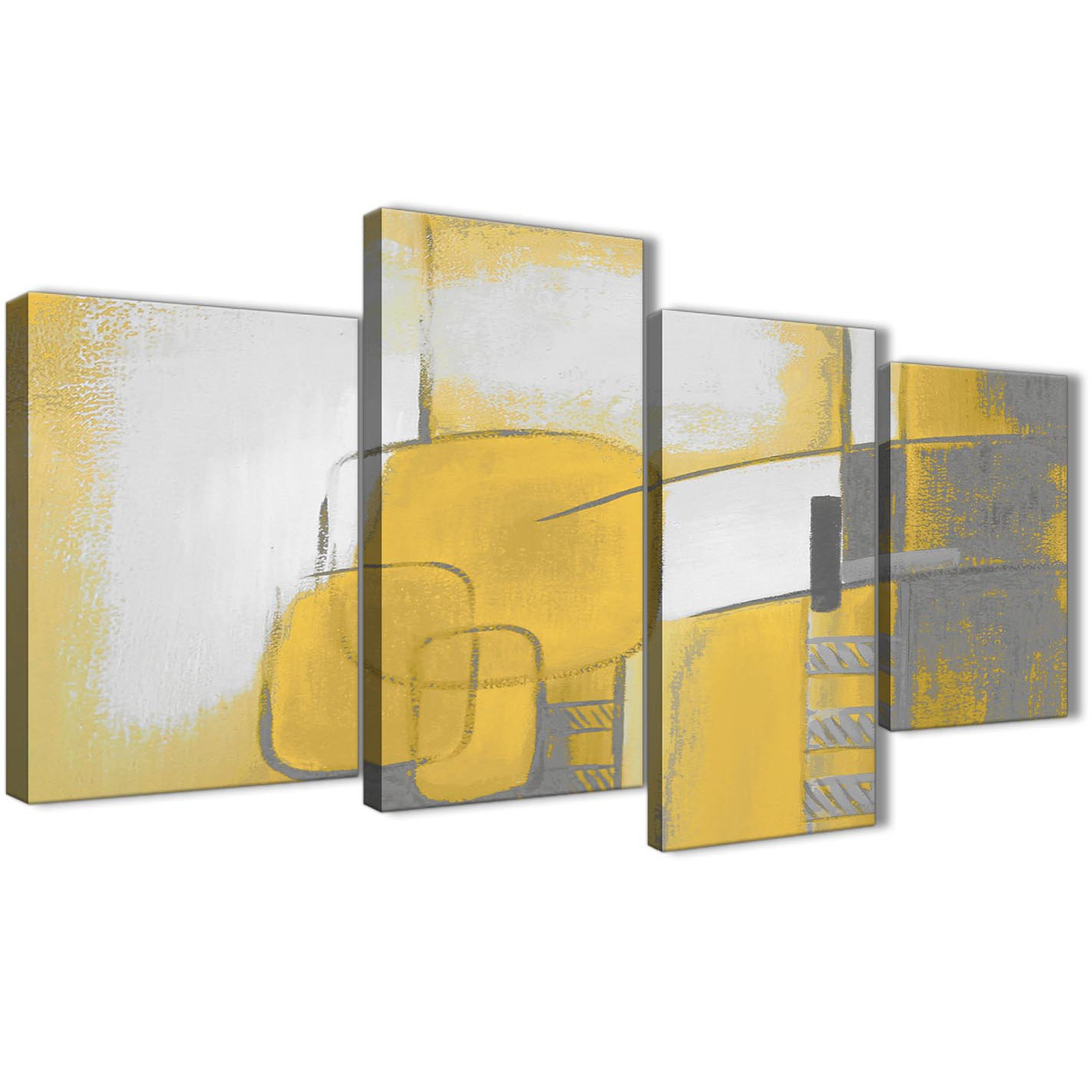 Large Mustard Yellow Grey Painting Abstract Bedroom Canvas ...