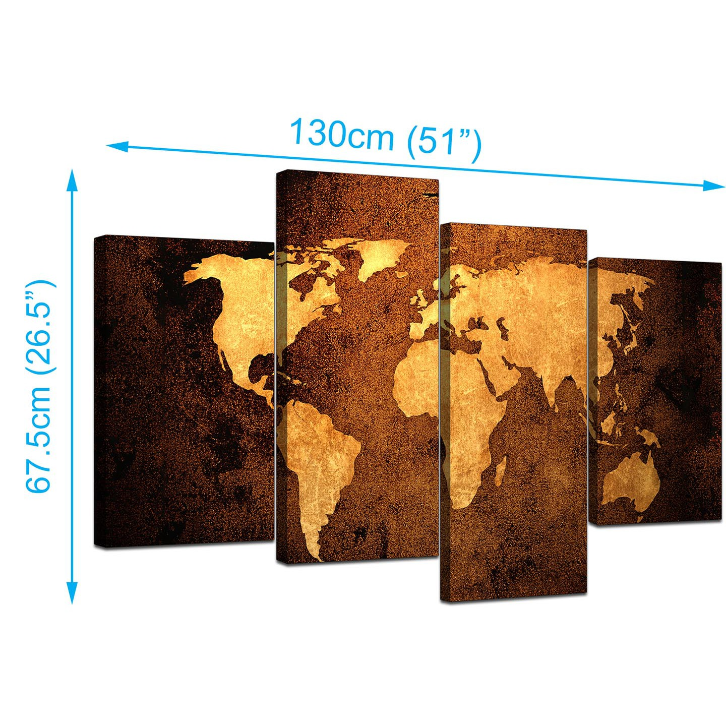 Canvas pictures of a world map in brown for your bedroom display gallery item 3 world map canvas wall art in brown leather effect display gallery item 4 wallfillers canvas hanging template gumiabroncs Image collections