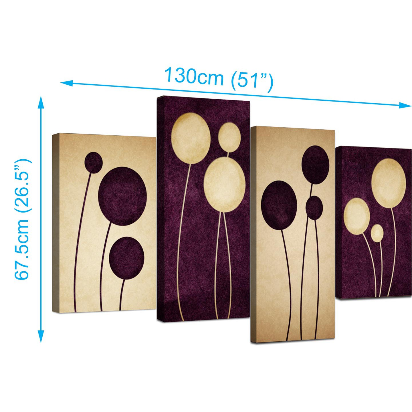 Display Gallery Item 2; 4 Part Set Of Extra Large Purple Canvas Wall Art  Display Gallery Item 3 ...