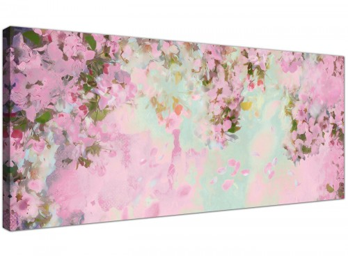 cheap shabby chic pale dusky pink flowers floral canvas modern 120cm wide 1281 for your girls bedroom