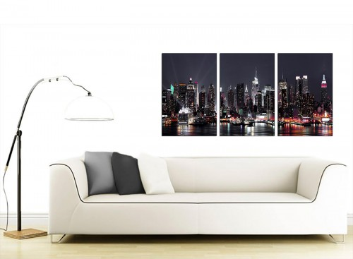 3 Panel American City Canvas Prints UK 125cm x 60cm 3187
