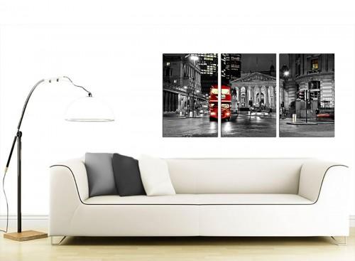 Set of 3 British City Canvas Wall Art 125cm x 60cm 3208