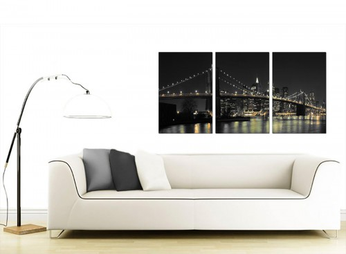 Set of Three American City Canvas Art 125cm x 60cm 3075