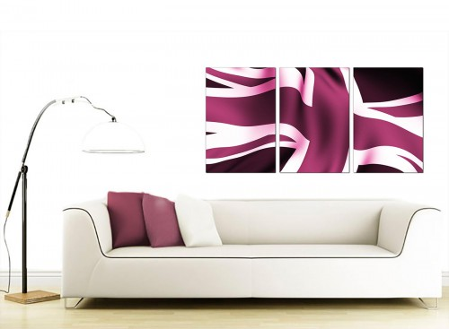 Set of 3 British Flag Canvas Prints UK 125cm x 60cm 3009