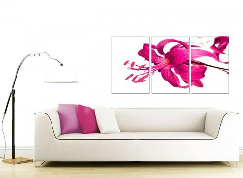 Set of 3 Flower Canvas Wall Art 125cm x 60cm 3053