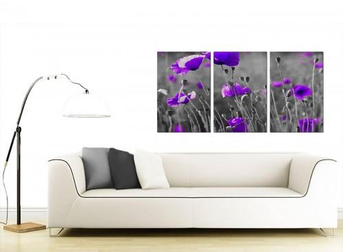 Set of 3 Flower Canvas Pictures 125cm x 60cm 3136