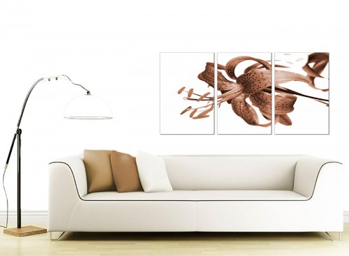 Set of 3 Flower Canvas Prints 125cm x 60cm 3055