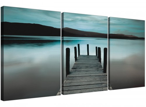 3 panel lake district jetty canvas pictures living room 3237