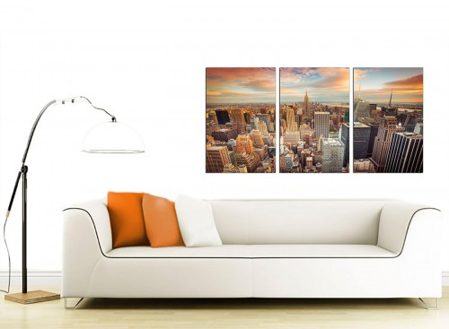 3 Panel American Cityscape Canvas Art 125cm x 60cm 3202