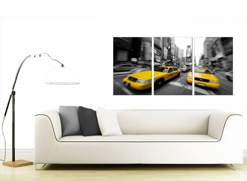 3 Part American Cityscape Canvas Prints 125cm x 60cm 3028