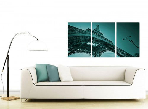 Set of Three French Cityscape Canvas Pictures 125cm x 60cm 3014