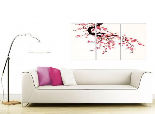 3 Panel Flower Canvas Art 125cm x 60cm 3081