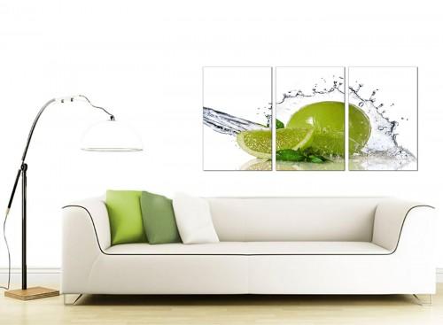 Set of Three Food & Drink Canvas Art 125cm x 60cm 3057