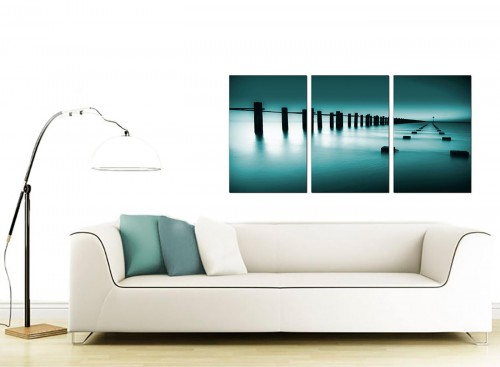 Set of 3 Seascape Canvas Prints UK 125cm x 60cm 3089