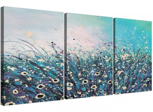 set of 3 abstract teal floral canvas art 3260