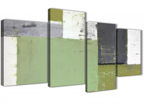 Oversized Large Green Grey Abstract Painting Canvas Wall Art Pictures Multi 4 Set 130cm Wide 4337 For Your Dining Room