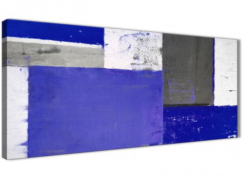 Oversized Indigo Navy Blue Abstract Painting Canvas Wall Art Print Modern 120cm Wide 1338 For Your Dining Room