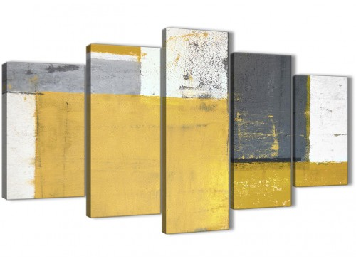 Oversized Extra Large Mustard Yellow Grey Abstract Painting Canvas Wall Art Print Split 5 Part 160cm Wide 5340 For Your Kitchen