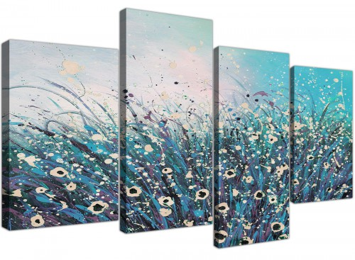 large teal abstract floral canvas prints 4260