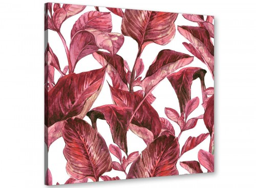 Dark Burgundy Red White Tropical Leaves Canvas Wall Art - Modern 64cm Square - 1s321m