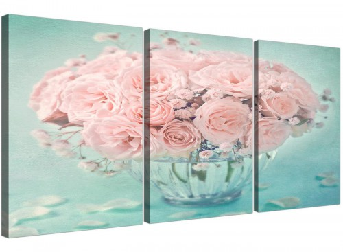cheap duck egg blue and pink roses flower floral canvas multi 3 set 3287 for your living room